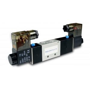 Mágnesszelep 5/3 4V430C 1/2 hüvelykes pneumatikus hajtóművekhez 230 V vagy 12 V, 24 V