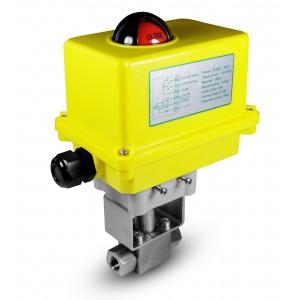 Nagynyomású gömbcsap, 1/4 hüvelykes SS304 HB22, elektromos A250 szelepmozgatóval