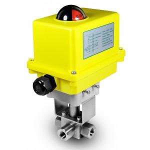 Nagynyomású háromutas gömbcsap, 1/2 hüvelykes SS304 HB23 A250 elektromos működtetővel