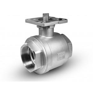 Rozsdamentes acél gömbcsap, DN15, 1/2 hüvelykes szerelőlemez ISO5211