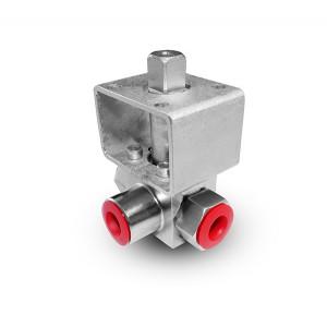Nagy nyomású háromutas gömbcsap 1 hüvelykes SS304 HB23 szerelőlap ISO5211