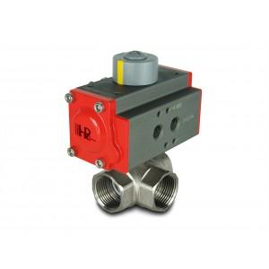 Háromutas sárgaréz gömbcsap, 1 1/4 hüvelykes DN32, AT40 pneumatikus működtetővel
