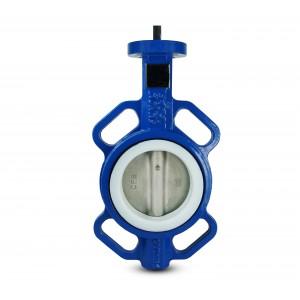 Pillangószelep, fojtószelep DN100 - PTFE, rozsdamentes acél