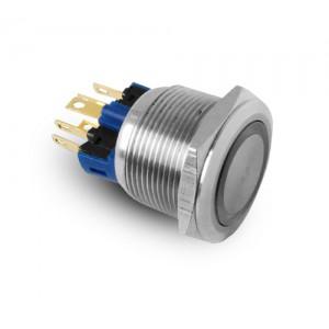 Gomb 22 mm-es rozsdamentes acélból, IP65 LED 230V vagy 24V, kék