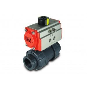 Gömbcsap UPVC 1 1/4 hüvelykes DN32, AT40 pneumatikus szelepmozgatóval