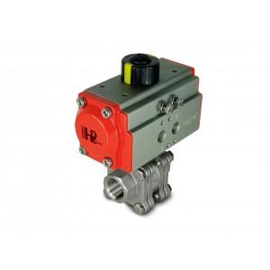 1/2 hüvelykes DN15 PN125 nagynyomású gömbcsap, AT40 pneumatikus szelepmozgatóval